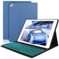 SENGBIRCH Compatible Keyboard Case iPad 9.7 2018 - iPad 9.7 2017 - iPad Air 2&1 - iPad Pro 9.7-7 Colors Backlit Detachable Keyboard - PU Leather Stand - iPad Keyboard Case, (Blue, 9.7)