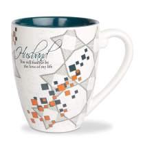 Pavilion Gift Company Teal & Orange 20 Oz Tea Cup Coffee Mug Husband, Blue
