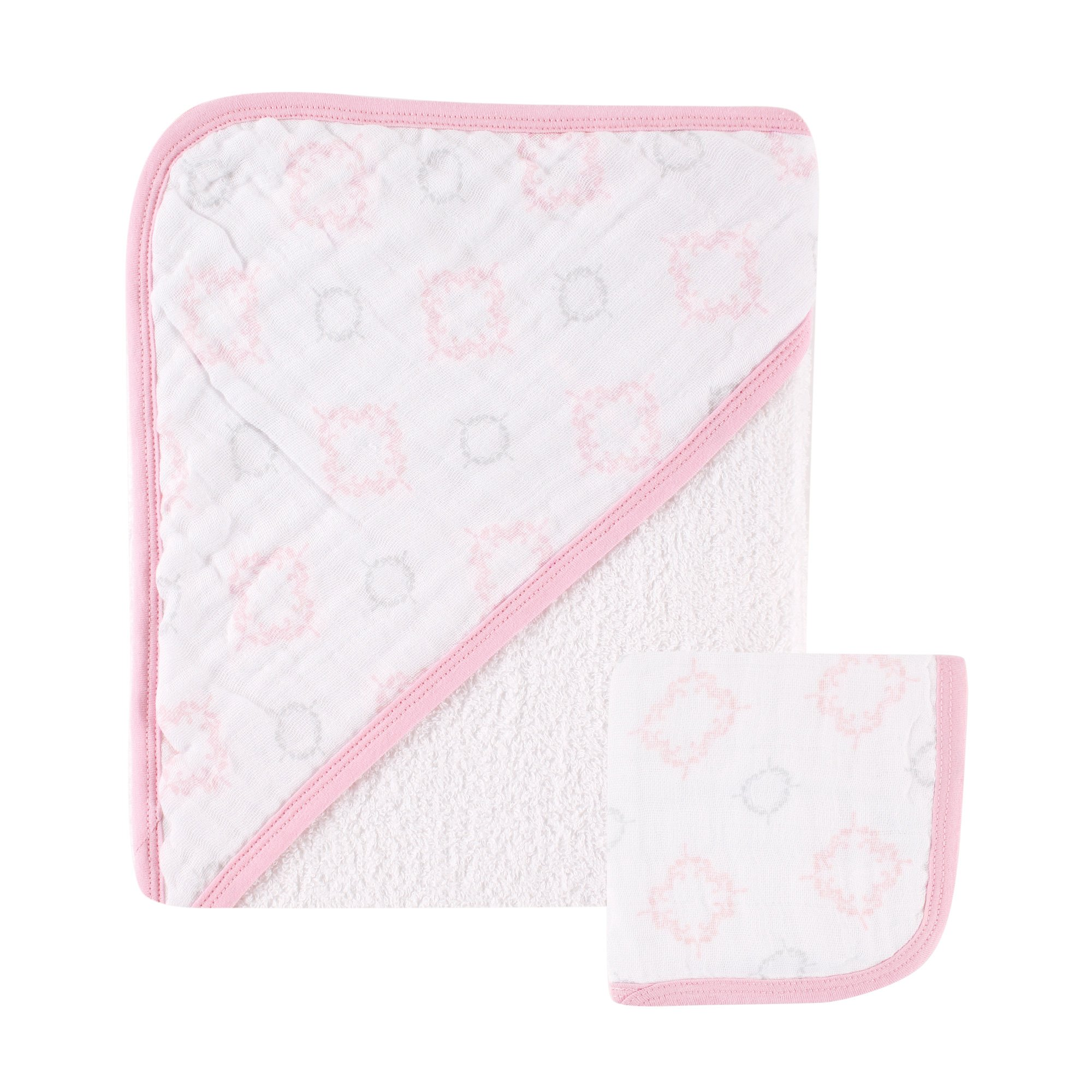 Hudson Baby Muslin Hooded Towel with Washcloth, Pink Damask