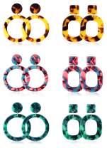 LOYALLOOK 2-6Pairs Acrylic Earrings Resin Earrings For Women Teen Girls Boho Earrings Statement Drop Dangle Earrings