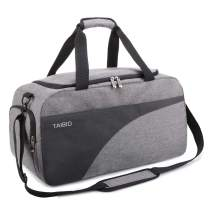 TAIBID Water Resistant Sports Gym Bag Travel Weekender Duffel Bag with Shoe Compartment and Wet Pocket for Men and Women (Grey & Black)