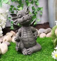 "Ebros Keep Off Flip The Bird Rude Baby Dragon Sitting Statue 10"" H Fairy Garden Faux Stone Resin Finish Guest Greeter Figurine"