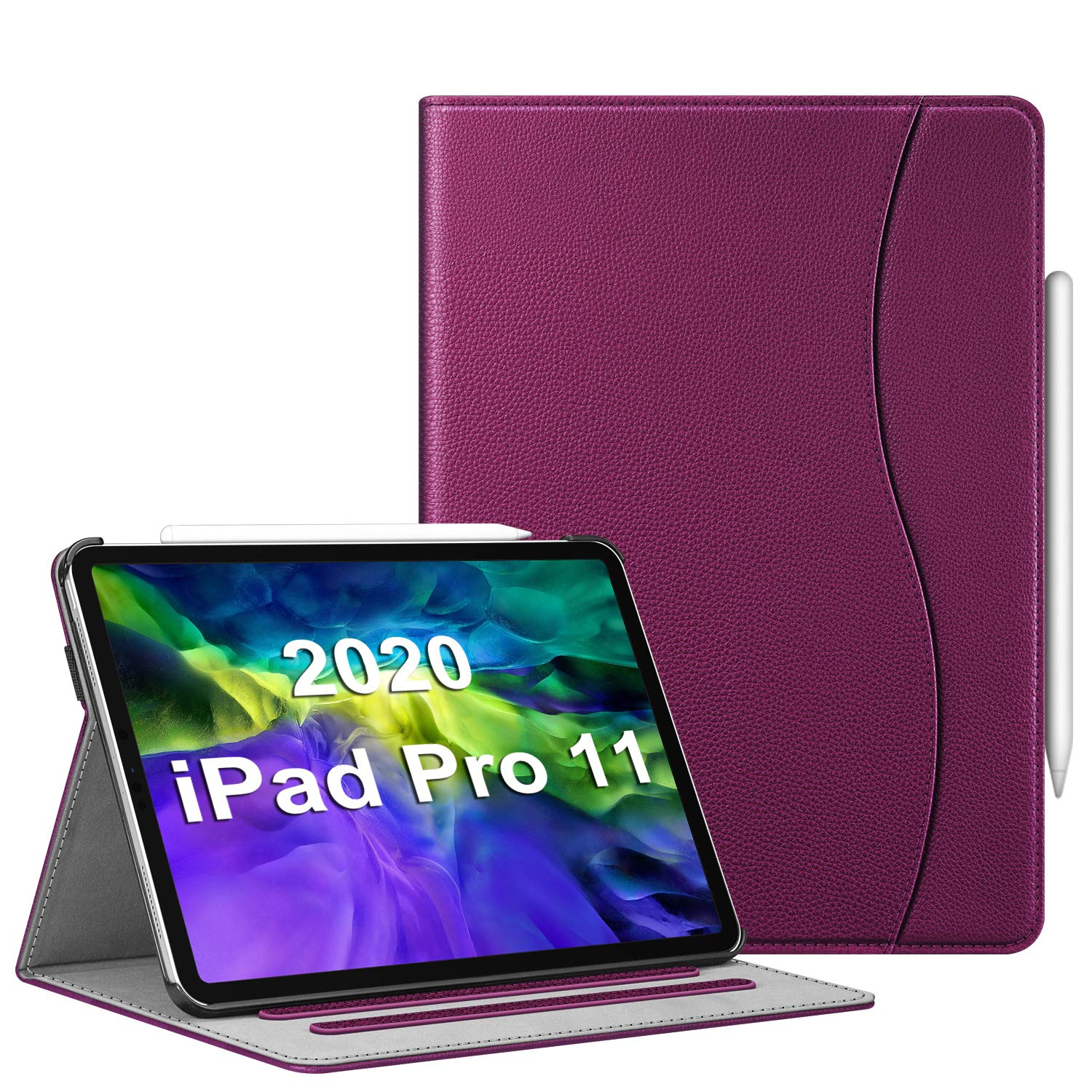 """CaseBot Case for iPad Pro 11"""" 2020/2018 with Pencil Holder, Multi-Angle Viewing Folio Smart Stand Cover with Pocket [Supports Pencil 2nd Gen Charging], Auto Sleep/Wake, Purple"""
