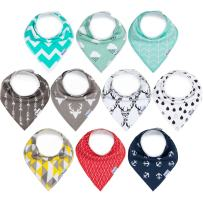 upsimples 10-Pack Baby Bibs for Boys Baby Bandana Drool Bibs Drooling and Teething, 100% Cotton and Super Absorbent Hypoallergenic Bibs for Baby Boys, Baby Shower Gift Set