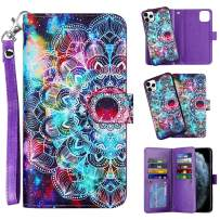 Vofolen 2-in-1 Case for iPhone 11 Pro Case Wallet Credit Card Holder Slot Detachable Hybrid Protective Slim Hard Shell Magnetic PU Leather Folio Pocket Flip Cover for iPhone 11 Pro 5.8 Mandala