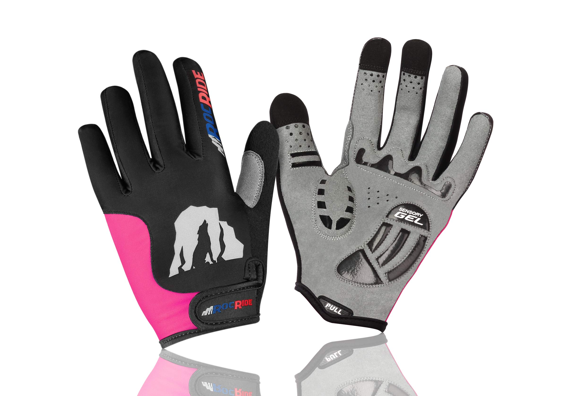 RocRide Cycling Gloves with Gel Padded Protection. Road and Mountain Biking. Full Finger with Screen Compatible Tips Men, Women and Children Sizes