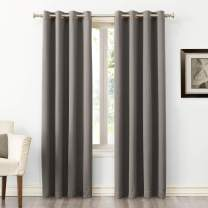 "Sun Zero Easton Blackout Energy Efficient Grommet Curtain Panel, 54"" x 63"", Gray"