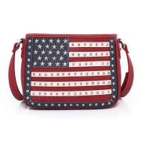 Montana West Women's American Pride Flag Studded Collection Wallet/Crossbody Handbags, Concealed Handgun Tote/Messenger