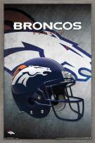 "Trends International NFL Denver Broncos - Helmet, 22.375"" x 34"", Barnwood Framed Version"