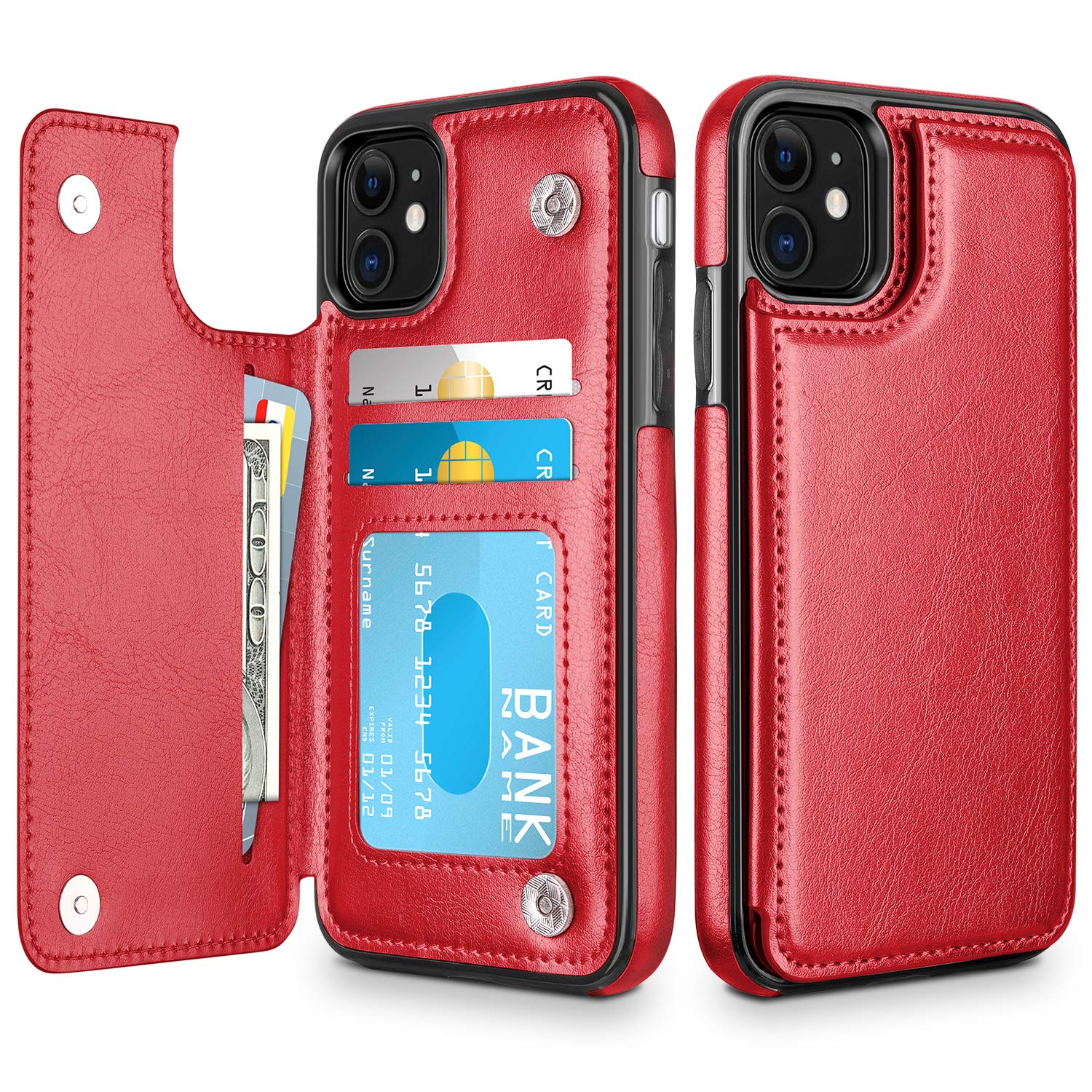 HianDier Wallet Case for iPhone 11 6.1-inch Slim Protective Case with Credit Card Slot Holder Flip Folio Soft PU Leather Magnetic Closure Cover for 2019 iPhone 11 iPhone XI, Red