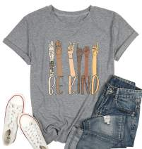 KIDDAD Be Kind Sign Language Shirt Women Inspirational Graphic Tees Casual Short Sleeve Loose Tops
