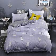 KFZ Cat Print Bedding, 3 Piece Full Bed Set with 1 Comforter Case and 2 Pillowcases, Ultra Soft Duvet Cover for Kids and Adults