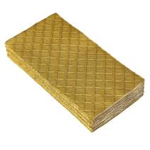DISPOSABLE QUILTED GUEST TOWELS | European Made Linen Feel Napkins | for Upscale Wedding and Dining | 12 pc | Gold