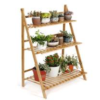 HYNAWIN Bamboo 3 Tier Plant Flower Stand Plant Display Shelf Pot Display Storage Rack