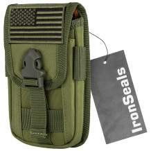 IronSeals Tactical Cell Phone Holster Pouch, Tactical Smartphone Pouches EDC Cellphone Case Utility Gadget Bag Molle Attachment Belt Holder Waist Bag with US Flag Patch
