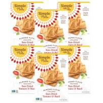 Simple Mills Almond Flour Crackers, Sundried Tomato & Basil, Gluten Free, Flax Seed, Sunflower Seeds, Corn Free, Better for you Snacks, Made with whole foods, 6 Count, (Packaging May Vary)