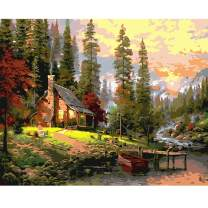 Fairylove DIY Oil Painting Paint by Numbers Kits for Adults & Kids Home Wall Decor Nature View Canvas Art Work - Without Frame (Cabin in The Woods, 16 x 20 inch)