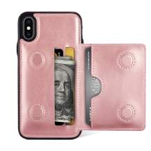 EYZUTAK Card Slot Holder Wallet Case for iPhone XR, Premium PU Leather Case Kickstand with Hidden Magnetic Closure Flip Durable Shockproof Protective Cover for iPhone XR - Rose Gold