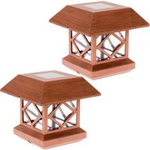 GreenLighting Outdoor Summit Solar Post Cap Light for 4x4 Wood Posts 2 Pack (Brushed Copper)