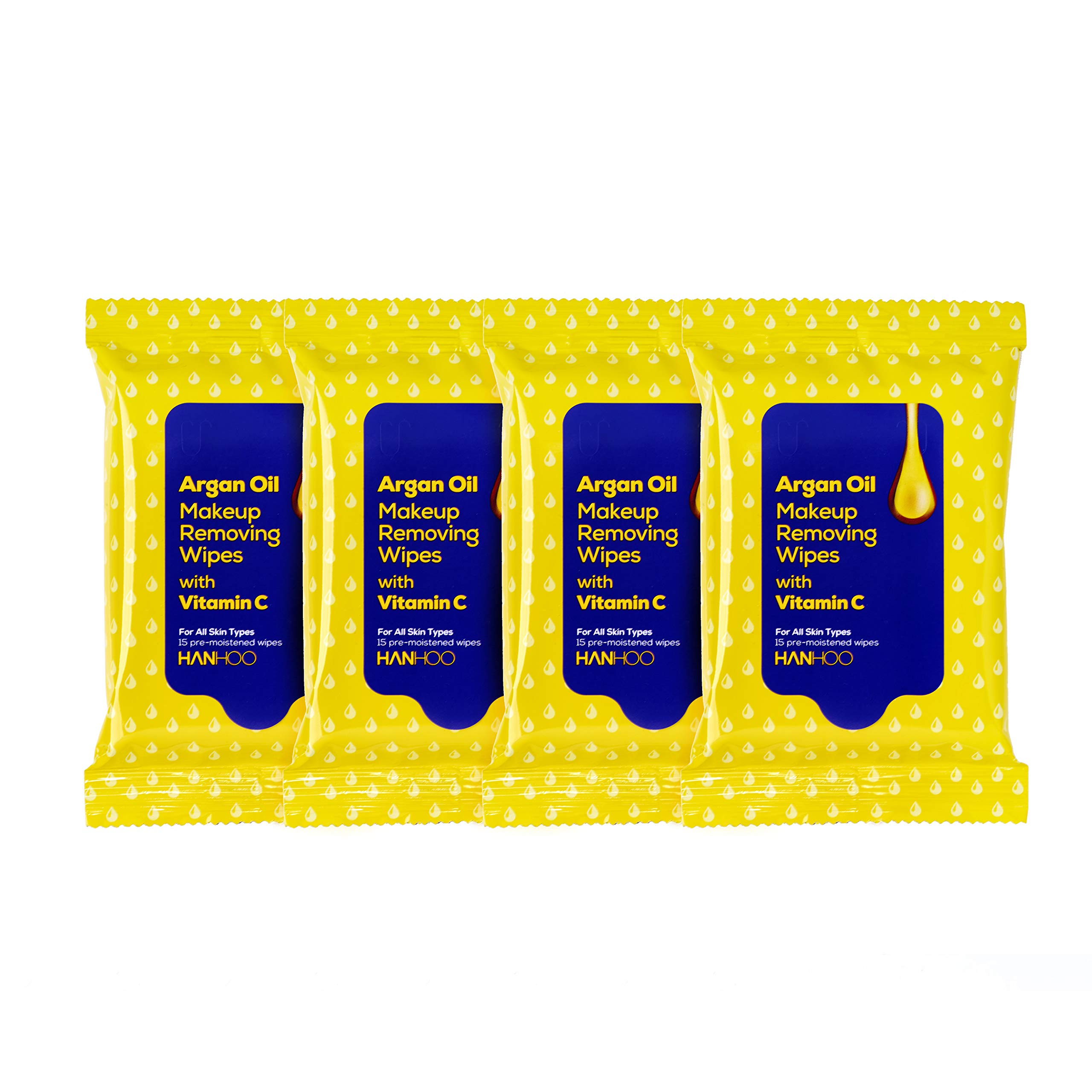 Hanhoo - Argan Oil Makeup Removing Wipes with Vitamin C | Moisturizing and Brightening Face Wash for All Skin Types (4 Pack - 15 wipes each)