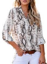 LOSRLY Womens V Neck Roll Up Sleeve Button Down Blouses Leopard Tunic Long Sleeve Loose Shirts Casual Top