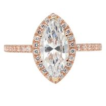 2.58ct Brilliant Marquise Cut Halo Anniversary Engagement Promise Statement Bridal Ring Solid 14k Rose Gold