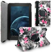 Fire HD 10 2015 Case, Cellularvilla Premium Pu Leather 360 Degree Rotating Cover Swivel Stand Protective Case for Amazon Kindle Fire HD 10 inch Tablet 5th Generation 2015 Release (Black Pink Flower)