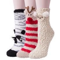 3-6 Pairs Womens Fuzzy Socks Winter Warm Fluffy Soft Slipper Home Sleeping Cute Animal Socks