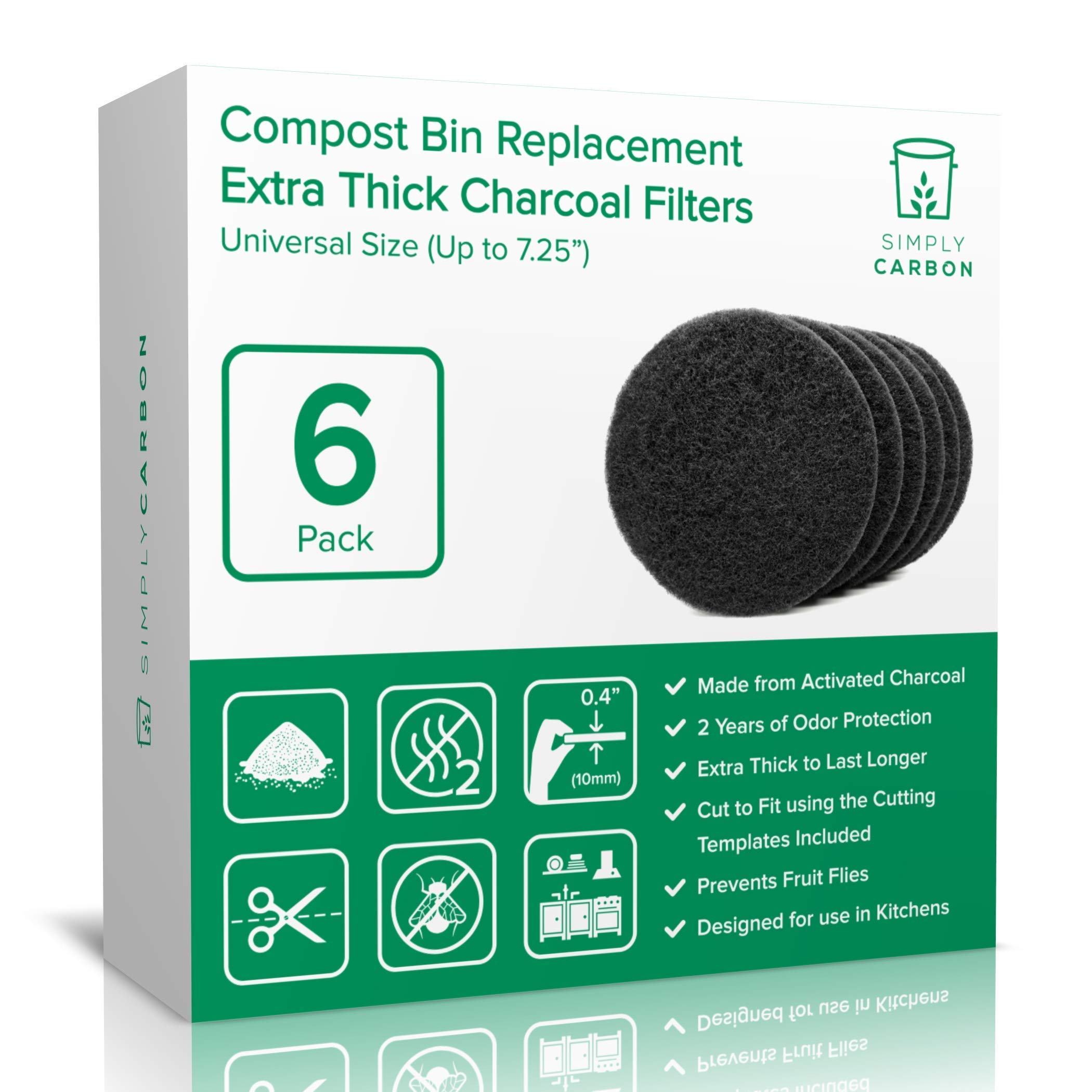 """Simply Carbon 2 Years Supply Extra Thick Filters for Kitchen Compost Bins - Longer Lasting Activated Charcoal - Universal Size Fits All Compost Bins up to 7.25"""" Filter Size - Replacement Set of 6"""