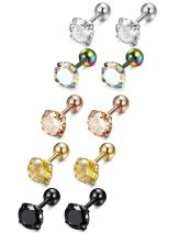 LOYALLOOK 5 Pairs Stainless Steel Cubic Zirconia Stud Earring Ear Piercings for Women 5 Colors 4-8mm