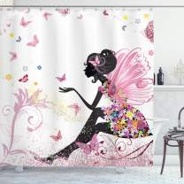 """Ambesonne Fashion Shower Curtain, Fairy Girl with Wings in a Floral Dress Fantasy Garden Flying Butterflies, Cloth Fabric Bathroom Decor Set with Hooks, 70"""" Long, Pink White"""