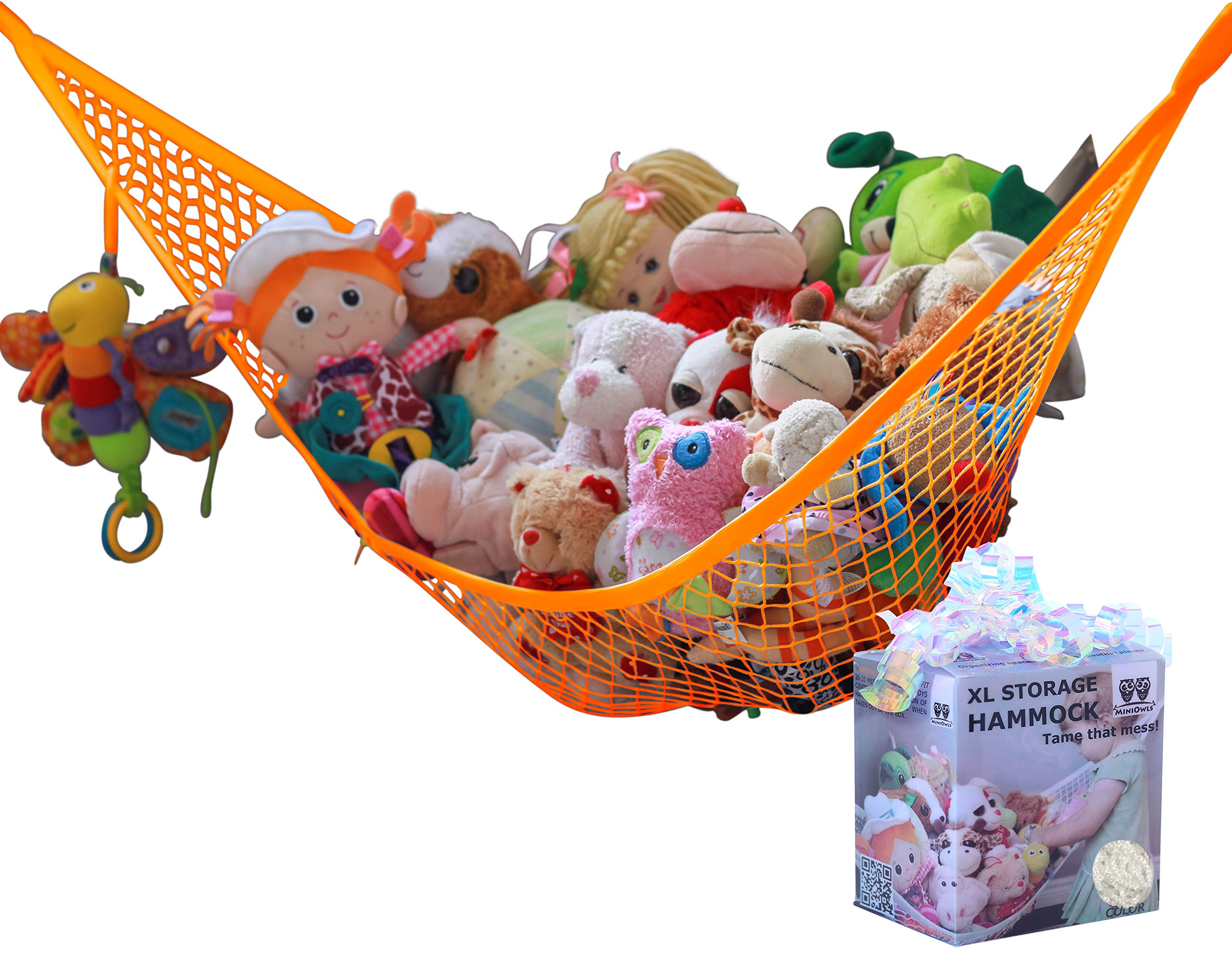 MiniOwls Storage Hammock Stuffed Toys Organizer - Fits 30-40 Plush Animals. Great Gift for Boys and Girls. Instead of Bins and Toy Chest – Displays Teddies Easily (Orange, X-Large)