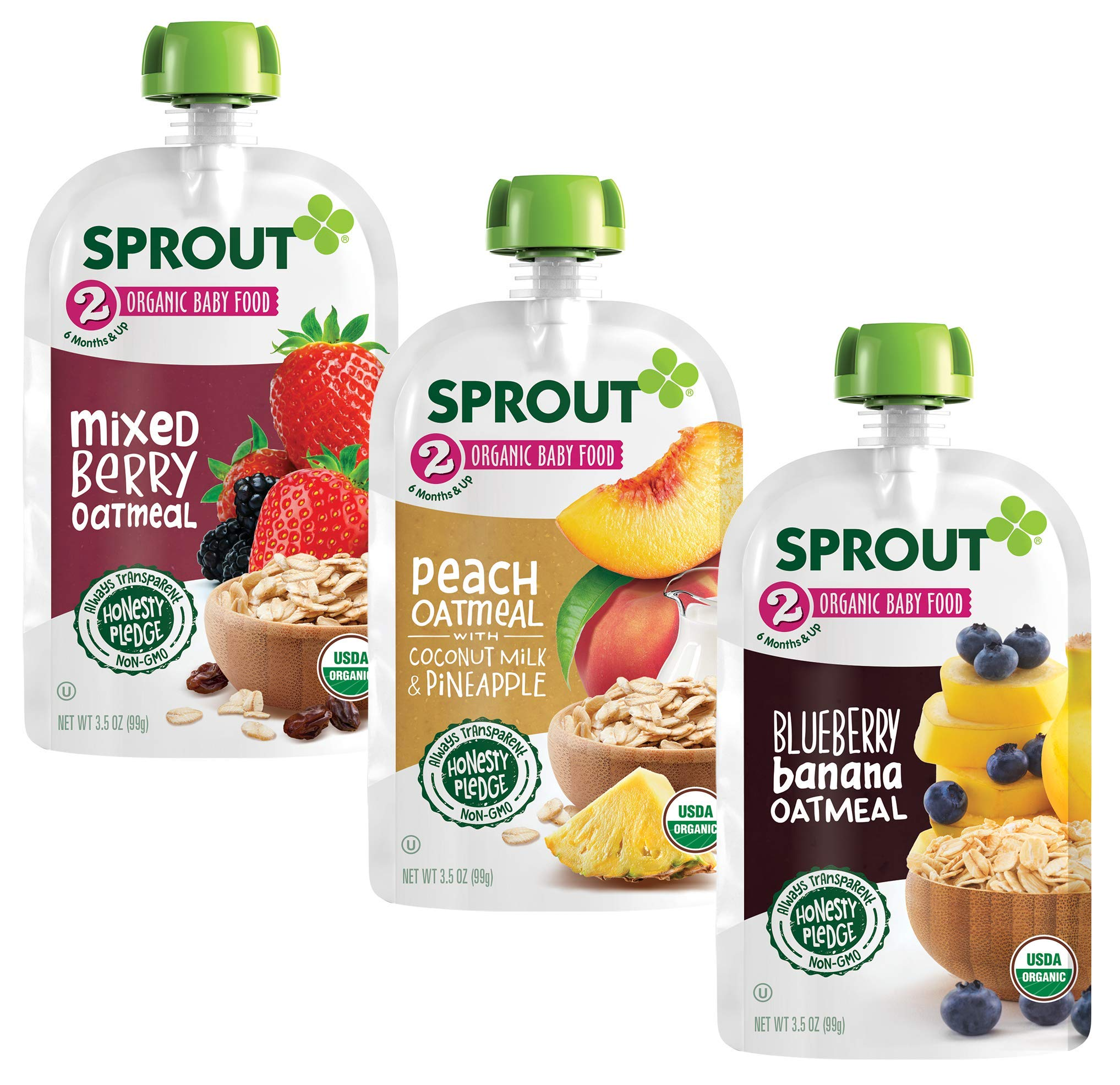 Sprout Organic Baby Food Pouches, Stage 2 Oatmeal Variety (Pack of 18); 6 (3.5 oz) Blueberry Banana oatmeal,  6 (3.5 oz) Mixed Berry Oatmeal, 6 (3.5 oz) Peach Oatmeal with Coconut Milk & Pineapple