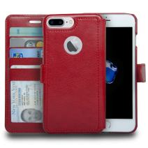 navor Slim & Light Premium Flip Wallet Case with RFID Protection Compatible for iPhone 7 Plus/ 8 Plus - 5.5 inch (Zevo S2 Series) - Red