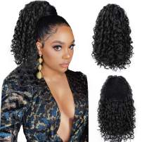 AISI BEAUTY Black Curly Ponytail Extension Drawstring Ponytails for Black Women Synthetic Hair Extensions Curly Ponytail with 2 Clips (1B)