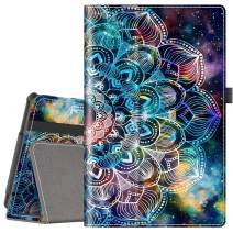 VORI Folio Case for All-New Fire HD 10 (9th Gen 2019 and 7th Gen 2017 Release), Smart Cover Slim Folding Stand Case with Auto Wake/Sleep and Hand Strap for Amazon Fire HD 10.1 Inch, Mandala Galaxy