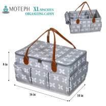 Moteph Extra Large Diaper Caddy Organizer with Zip-Top Cover with 2 Extra Items - Waterproof Wet/Dry Bag - Velour Baby Wipe Cloth - Perfect for Baby Shower