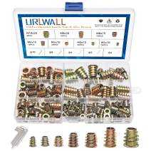 URLWALL 130Pcs Threaded Inserts Nuts Assortment Tool Kit, M4/M5/M6/M8 Furniture Screw in Nut Wood Inserts Bolt Fastener Hex Socket Drive with 5 Wrenches for Wood Furniture (135PCS)