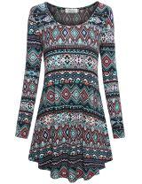 Faddare Women's Soft Long Sleeve Ethnic Loose Fit Shift Tunics Dress,Black Blue S
