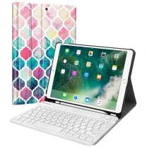 """Fintie Keyboard Case for iPad Air 3rd Gen 10.5"""" 2019 / iPad Pro 10.5"""" 2017 - SlimShell Stand Protective Cover w/Magnetically Detachable Wireless Bluetooth Keyboard and Pencil Holder, Moroccan Love"""