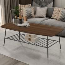 FINECASA Industrial Coffee Table with Storage Shelf, Wood and Metal Frame Coffee Table with Metal Shelf, Cocktail Table, Center Tables for Living Room Reception Room, 47.2x23.6x18.1 Inches, Brown