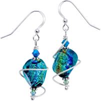Body Candy Spiral Dichroic Glass Dangle Earrings Created with Swarovski Crystals