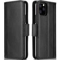 Procase iPhone 11 Pro Max Genuine Leather Case, Vintage Folio Flip Case with Kickstand Card Holders Leather Wallet Case for iPhone 11 Pro Max 2019 –Black