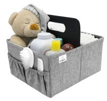 Sorbus Baby Diaper Caddy Organizer - Nursery Essentials Storage Bin for Diapers, Wipes & Toys, Newborn & Infant Portable Car Travel Storage Bag, Changing Table Organizer, Great Baby Shower Gift (Gray)