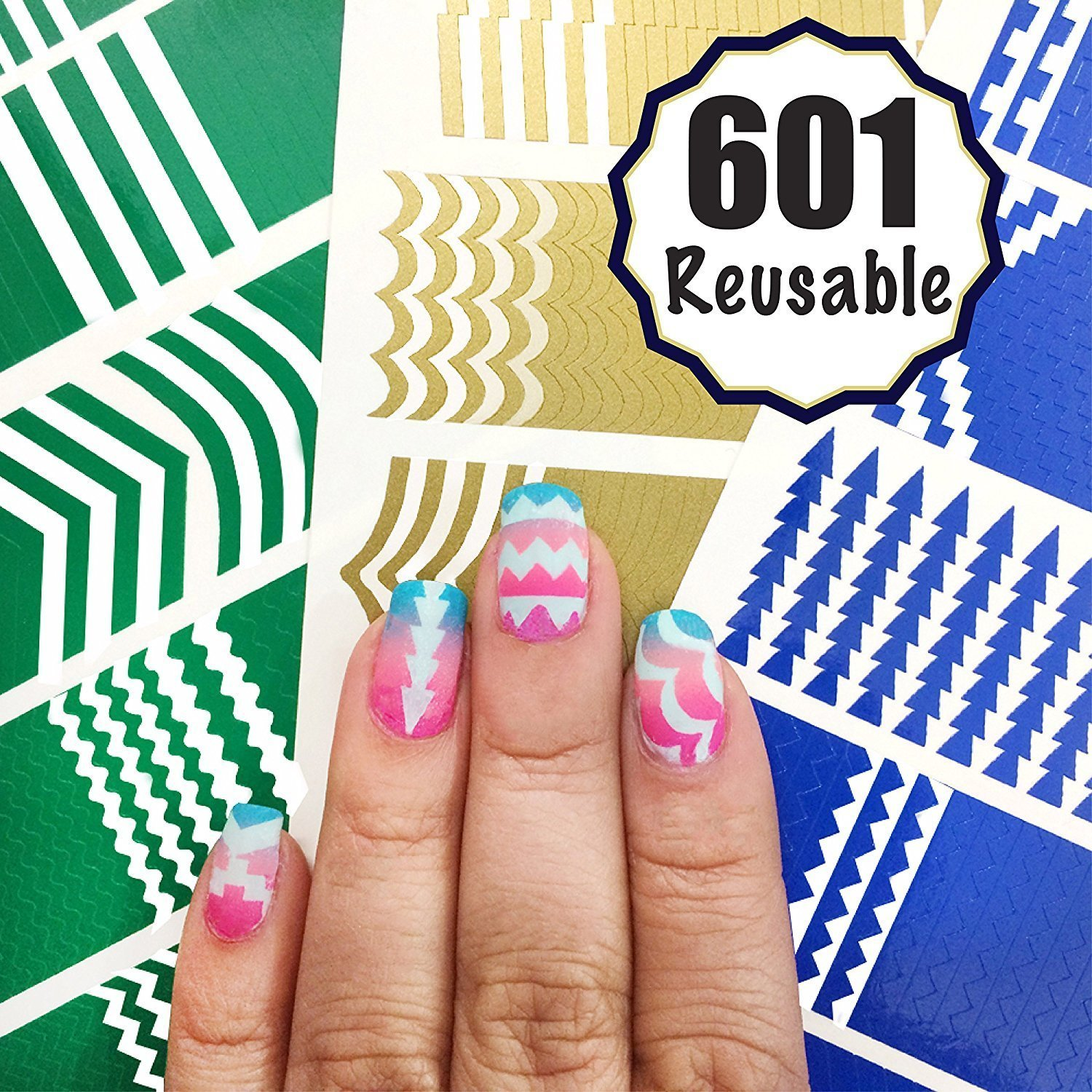 601 Reusable Nail Art Stencils Vinyl - 16 Different Shapes: Chevrons,Tribal,French Tip & More Adhesives Stripe Guides Patterns Designs 3 Sheets Supplies Kit Sticker Tape Decal Craft Gift Teen Girl