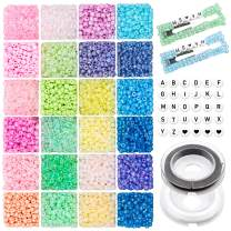 1920pcs Glass Seed Beads 4mm 6/0 Small Craft Beads Christmas Pony Beads and 270pcs Letter Alphabet Beads with Elastic Bracelet String Cord for DIY Bracelet Necklaces Crafting Jewelry Making Supplies