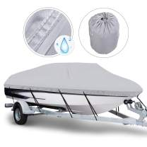 NORTHCAPTAIN 600D 100% Waterproof Boat Cover,Fits 16-18.5 ft/17-19 ft/20-22 ft V-Hull Tri-Hull Runabouts