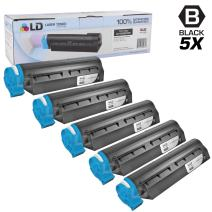 LD Set of 5 Okidata Compatible 44992405 Black Laser Toner Cartridge for The MB451W MFP Printers