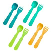 Re-Play Made in USA 8pk Toddler Feeding Utensils for Easy Baby, Toddler, Child Feeding - Aqua, Sunny Yellow, Lime Green, Teal (Aqua Asst+)