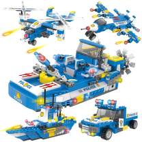 WishaLife City Police Coast Guard Building Kit, City Police Patrol Boat Building Set with Cops Car, Patrol Ship, and Aircraft with Storage Box for Boys and Girls 6-12 (1355 Pieces)